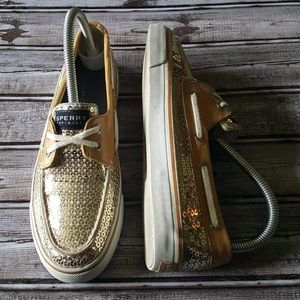 SPERRY'S Top-Sider Gold Sequin Shoes SIZE 8